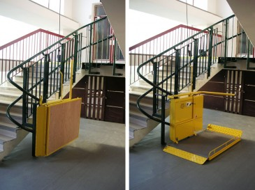 Folded and open staircase on wide stairwell.