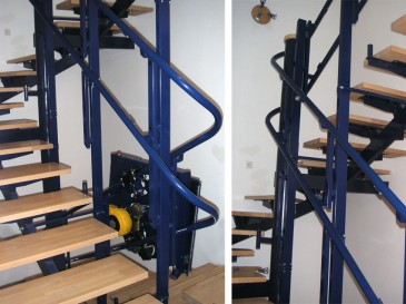The stairway platform can also be installed in confined spaces.